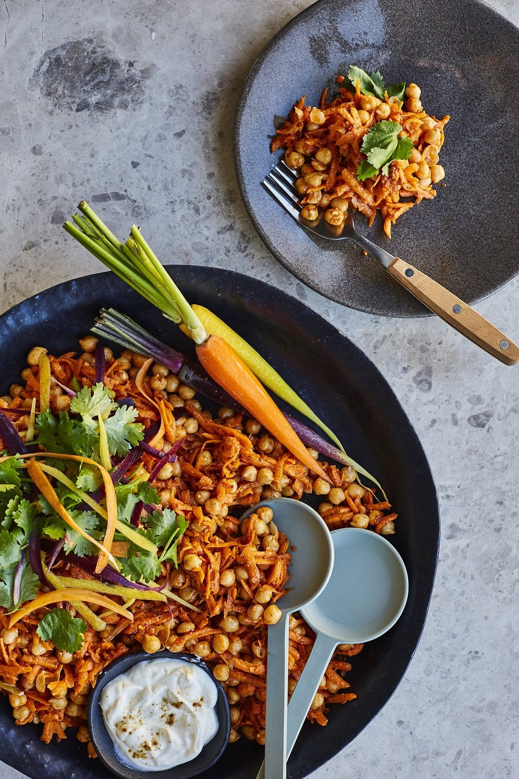 Carrot And Chickpea Salad With Harissa Paste